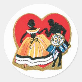 Sticker Rond Coeur antique de couples de Valentine