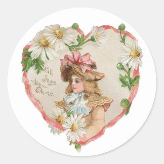 Sticker Rond Coeur antique de fille de Valentine