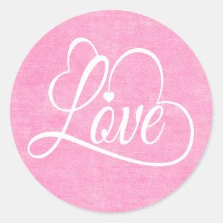 Sticker Rond Coeur blanc affligé d'amour d'aquarelle rose