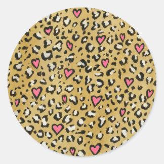 Sticker Rond Coeur de coeur de léopard/de rose poster de animal