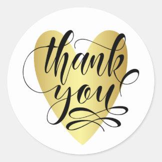 Sticker Rond Coeur d'or avec le Merci de calligraphie