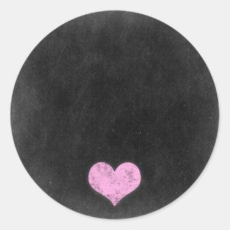 Sticker Rond Coeur rose chic minable rustique de craie de