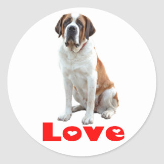 Sticker Rond Coeur rouge d'amour de chiot de St Bernard