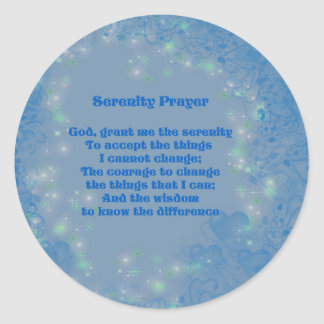 Sticker Rond Coeurs bleus de prière de sérénité inspirés