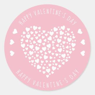 Sticker Rond Coeurs complètement de Saint-Valentin de coeurs