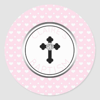 Sticker Rond Coeurs de rose de croix de faveur de baptême de