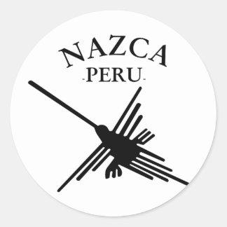 Sticker Rond Colibri de Nazca Pérou avec le texte incurvé