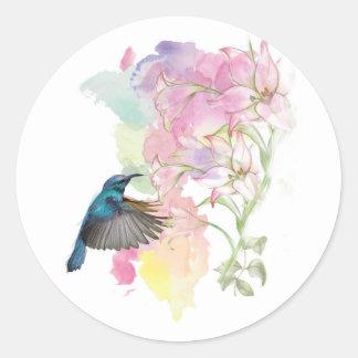 Sticker Rond Colibri et Lillies d'aquarelle