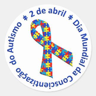 Sticker Rond Colle Blanche Sensibilisation de l'Autisme