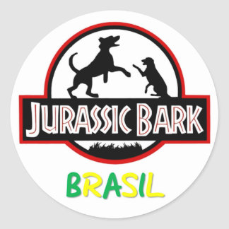 Sticker Rond Colle Jurassic Bark Brasil