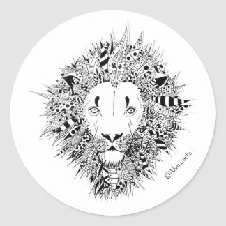 Sticker Rond Colle Lion
