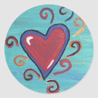 Sticker Rond Collection rouge de coeurs