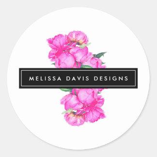 Sticker Rond Concepteur floral de groupe de pivoines