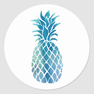 Sticker Rond conception bleue d'ananas