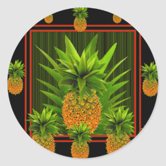 STICKER ROND CONCEPTION HAWAÏENNE D'ANANAS DE BLACK-GREEN