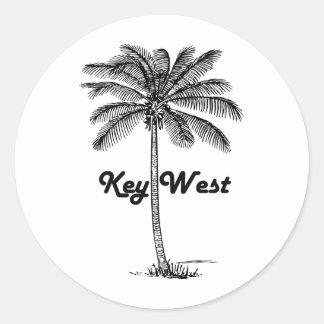 Sticker Rond Conception noire et blanche de Key West la Floride