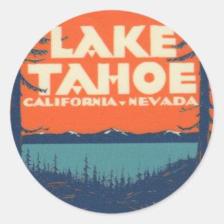Sticker Rond Conception vintage de décalque de voyage du lac