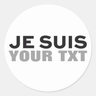"""Sticker Rond COPIE """"de Charlie de suis de Je"""" VOTRE PROPRE"""