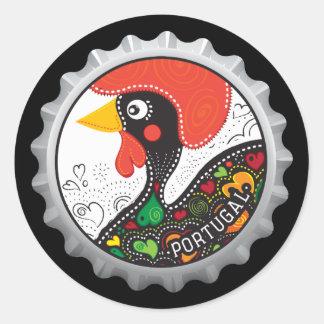 Sticker Rond Coq célèbre du Portugal nr02
