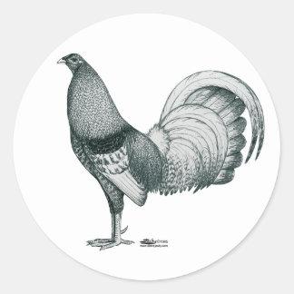 Sticker Rond Coq de combat Crele ou DOM
