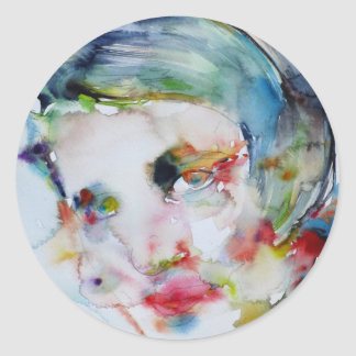 Sticker Rond couche-point d'ayn - portrait d'aquarelle