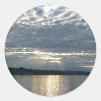 Sticker Rond Coucher du soleil dans le paysage marin de