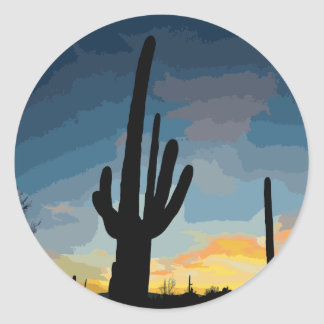 Sticker Rond Coucher du soleil du sud-ouest de cactus de