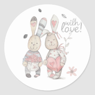 Sticker Rond couples banny 2 de lapin