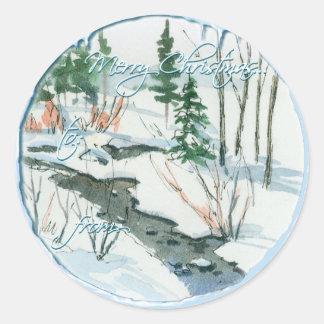 Sticker Rond COURANT PAISIBLE d'HIVER par SHARON SHARPE