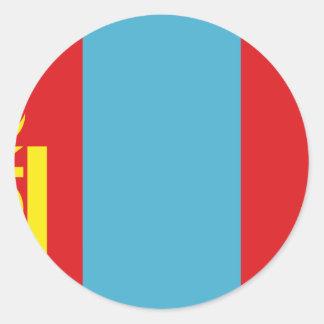 Sticker Rond Coût bas ! Drapeau de la Mongolie