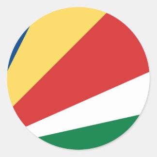 Sticker Rond Coût bas ! Drapeau des Seychelles