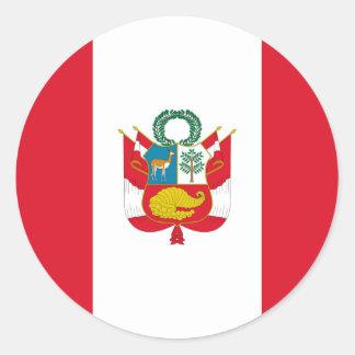 Sticker Rond Coût bas ! Drapeau du Pérou