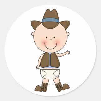 Sticker Rond Coutume mignonne de poney de bébé et de cheval
