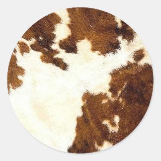 Sticker Rond Cowboy d'impression de peau de vache !