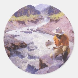 Sticker Rond Cowboy vintage, filtrant l'or, le Wyoming par