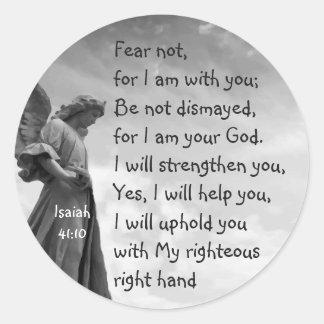 Sticker Rond Crainte pas, écriture sainte d'Isaïe soulageant