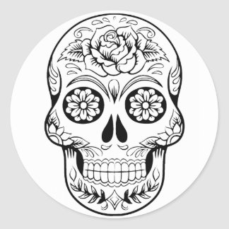 Sticker Rond Crâne de sucre