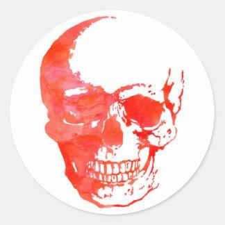 Sticker Rond Crâne en rouge