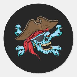 Sticker Rond Crâne et Crossbone de pirate