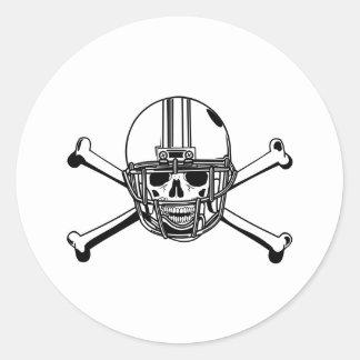 Sticker Rond Crâne et joueur de football d'os de croix