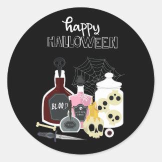 Sticker Rond Crânes et illustrations Halloween heureux de