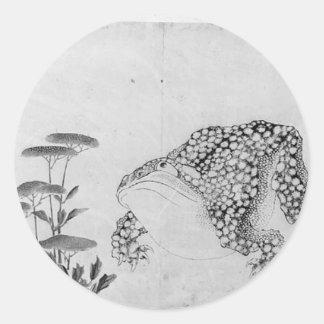 Sticker Rond Crapaud et fleurs - Japonais (période d'Edo)