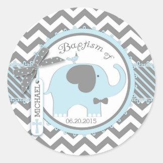 Sticker Rond Cravate d'arc d'éléphant et baptême bleus