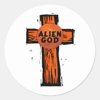 Sticker Rond Croix étrangère de Dieu