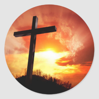 Sticker Rond Croix religieuse de Pâques au coucher du soleil