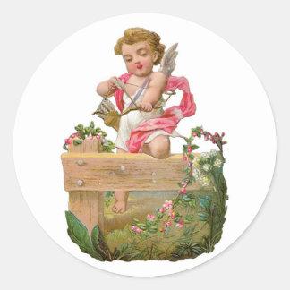 Sticker Rond Cupidon antique de Valentine