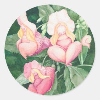 Sticker Rond dames de fleur