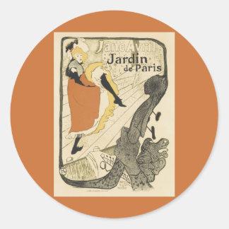 Sticker Rond Danseur Jane Avril, Toulouse Lautrec de Nouveau
