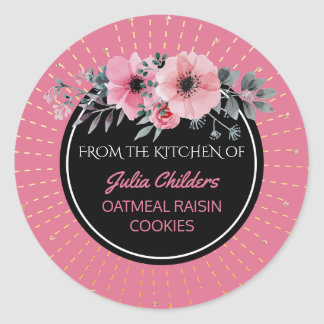 Sticker Rond De la cuisine du rose nommé de cuisson floral