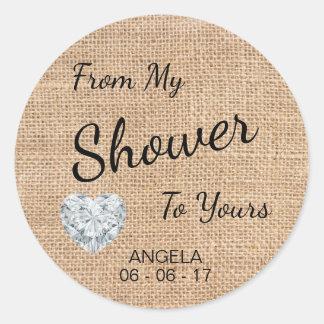 """Sticker Rond """"De ma douche au vôtre"""" la toile de jute, sucre"""